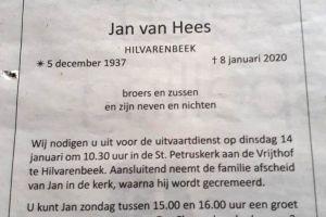Oud-trainer Jan van Hees overleden.